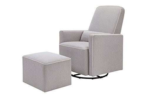 DaVinci Olive Upholstered Swivel Glider with Bonus Ottoman, Grey with Cream...
