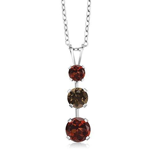 Gem Stone King 1.83 Ct Round Red Garnet Brown Smoky Quartz 925 Sterling Silver 3 Stone Pendant ()
