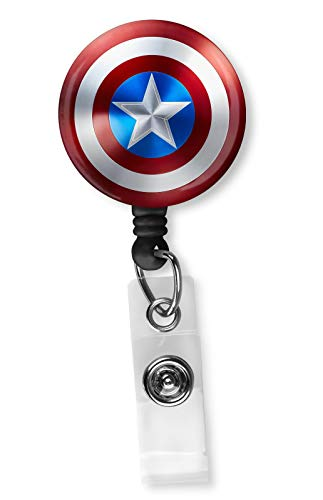 Captain America Shield Retractable ID Card Badge Reel with Alligator Clip Name Nurse Decorative Badge Holder Clip on Card Holders