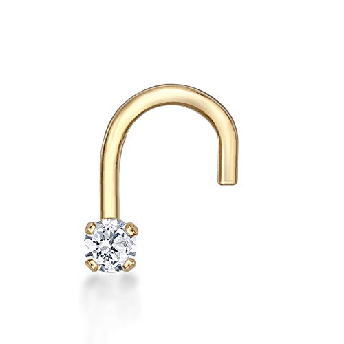 Lavari - 14K Yellow Gold 1.7mm .02 Carat Genuine Diamond Nose Ring Curve Stud Twist Screw 22 Gauge