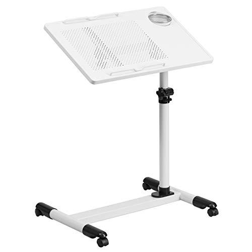 Flash Furniture White Adjustable Height Steel Mobile Computer Desk -