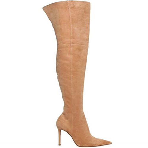 Over Knee High Boots Suede Brown Womens Stiletto Pointed Toe Zipper Shoes (US 11) mRla1wD