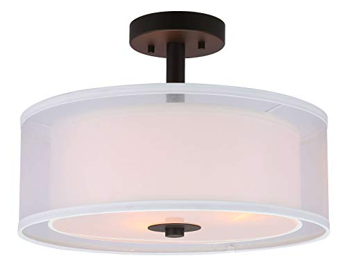 XiNBEi Lighting Semi Flush Mount Ceiling Light, 3 Light Drum Semi Flush Light, 16