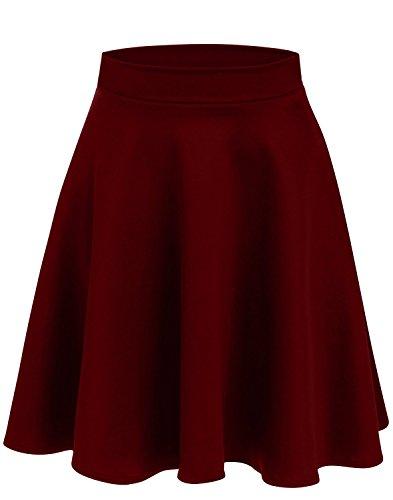 (Simlu Womens Skater Skirt, A Line Flared Skirt Reg & Plus Size Skater Skirts USA (Size XX-Large, Burgundy - Midi))