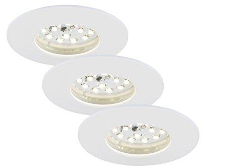 Briloner Leuchten 7204-036 LED Einbauleuchte, Einbaustrahler, LED Strahler, Spots, Deckenstrahler, Deckenspot, Lampen Wohnzimmer, led einbaustrahler 230v, Deckeneinbauleuchten,  5 Watt, 400 Lumen, Badezimmer / Bad geeignet IP44, energiesparend, 3er Set, rund, weiß
