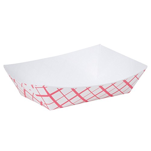 A World Of Deals #200 Paperboard Red Check Food Tray, 2-lb Capacity (Pack of 250) - Stadium Tray