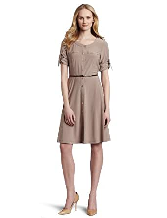 Jones New York Women's Button Front Belted Shirt Dress, Beige, 8