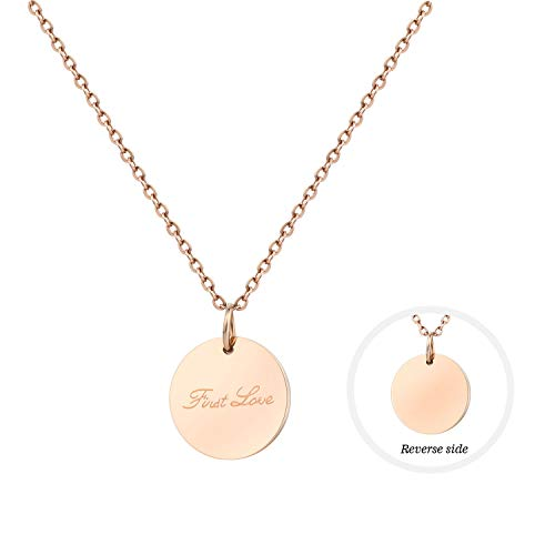 Rose Gold Disc Pendant Necklace 18K Stainless Steel Chain Choker Letter Pendant Personalized Initials Necklace Tiny Necklaces Jewelry Gift for Women ()