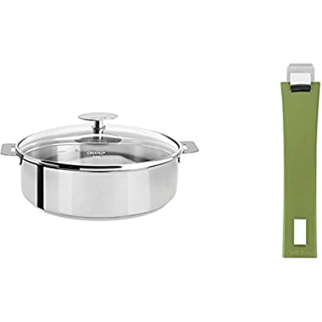 Cristel Mutine S28QKP Saute Pan 5 5 Quart Silver With Cristel Mutine Pmavt Handle Long Green