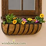 Standard English Garden Iron Hay Rack Window Basket w/ Coco Liner - 72 Inch