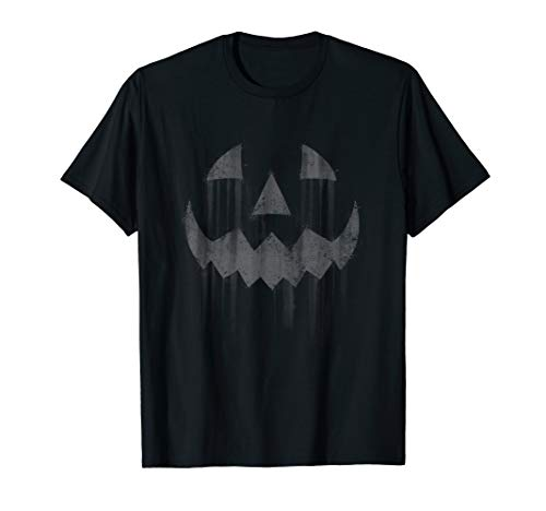 Scary Jack O'Lantern Halloween Horror Pumpkin Face Grey  T-Shirt