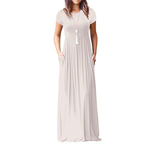 Vestito Unita Vestito Lungo Vestito Topgrowth Tasche Manica Sciolto Lunghi Donna Abiti Elastico Bianca Corta Tinta Casual con dOxP5nP8