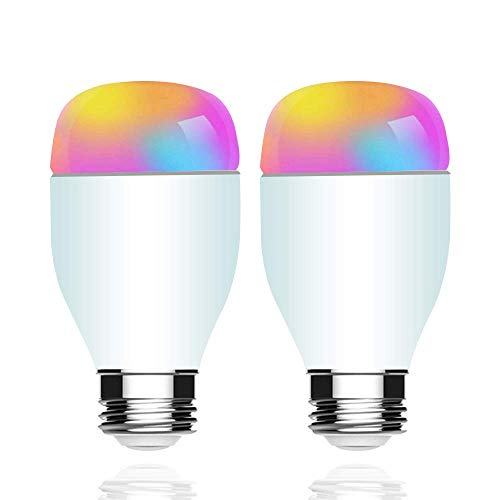 Smart Bulb, E26 RGB Color Changing, Dimmable Light with Remote Control from Anywhere No Hub Required (2 Pack)