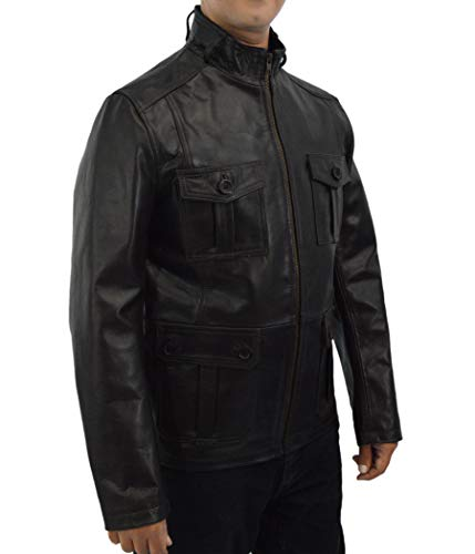 F&H Men's Genuine Leather 22 Jump Street Ice Cube Captain Dickson Coat L ()
