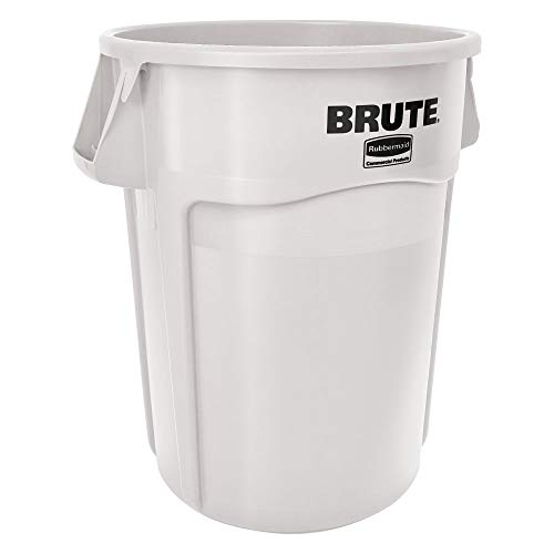 Rubbermaid FG264300 White 44 Gallon Brute LLDPE Heavy-Duty Round Container without Lid