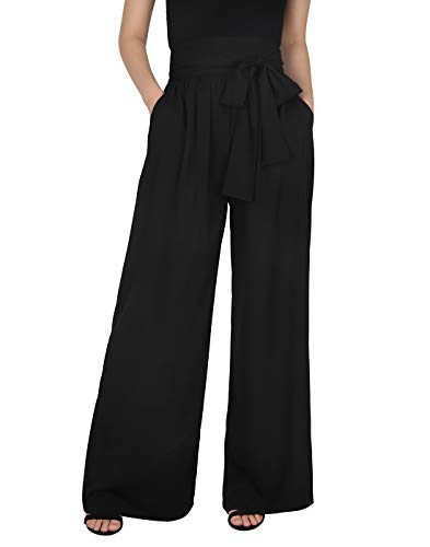 HDE Black Plus Size Pants Pallazos Pants for Women with Pockets Loose Fit