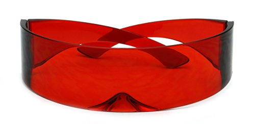 Futuristic Shield Sunglasses Monoblock Cyclops 100% UV400 (Solid Red, UV400)