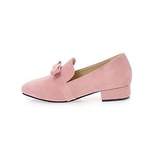 Odomolor Women's Pull-On Frosted Square-Toe Low-Heels Solid Pumps-Shoes, Pink, 36