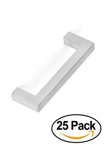 BirdRock Home Square Contemporary Handle | Brushed Nickel | 25 Pack | 3 Inch Kitchen Cupboard Furniture Cabinet Hardware Drawer Dresser Pull Trad