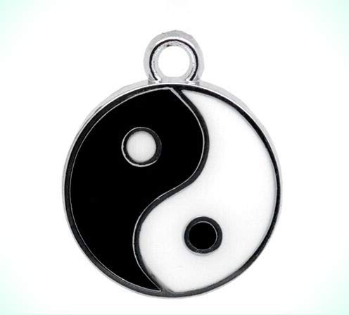 (Classic Black & White Enamel Yin Yang 20mm Charm or Pendant)