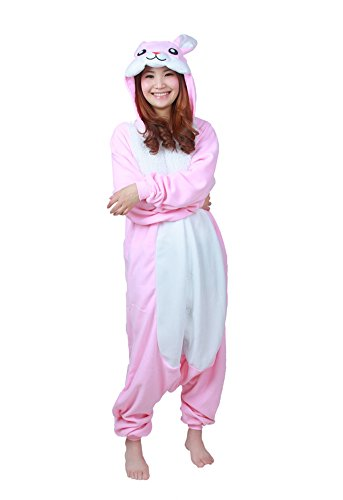 OLadydress Costumes Pyjamas for Adults, Easter Rabbit All-in-one Cosplay Partywear Pink (Adult Easter Outfits)