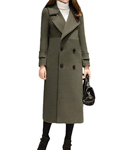 Monocromo Coat Giubotto Elegante Donna Vento Manica Di Invernali Darkgreen Moda Double Parka Estilo Breasted Especial Bavero Giacca Lunga qAaXPgwax