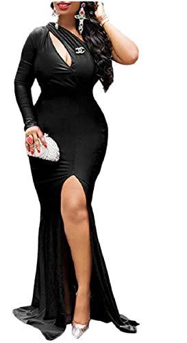 Cocktail Del Moda Qianqian Del Anteriore Di Long Spaccata Vestito Promenade au Maxi Nero Parte Di Partito Donne Sera Di Della OwAqTOr0