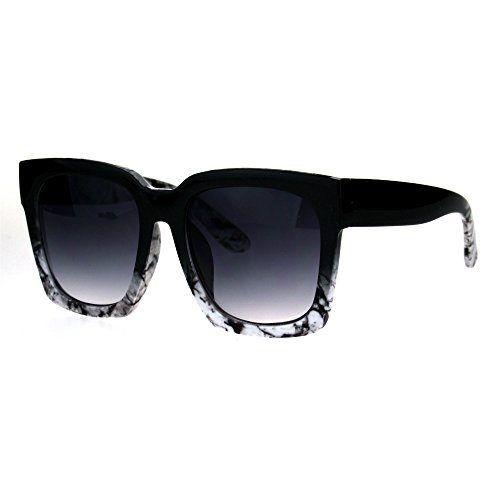 (Womens Boyfriend Style Oversize Horned Rim Thick Plastic Sunglasses Black White Marble)