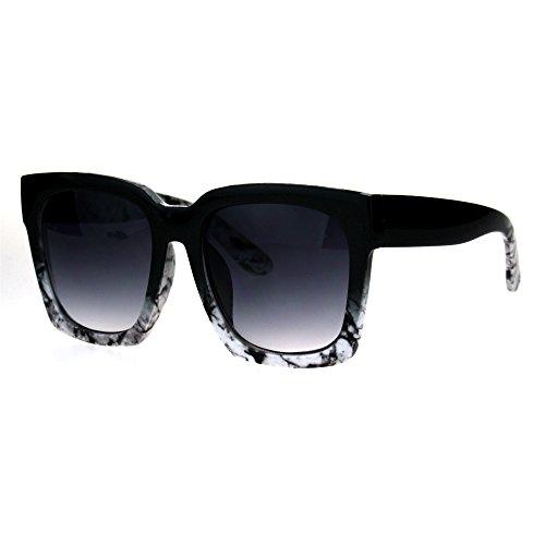 Womens Boyfriend Style Oversize Horned Rim Thick Plastic Sunglasses Black White ()