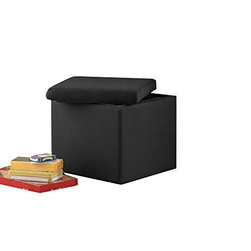 (OA TSR Black Suede Storage, Cube Storage, Small Space Organizer Container, Collapsible Container for Item Storage, Storage Cube with Lid Cover, with)