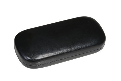 Hard Metal Bodied Eyeglass Case for Medium to Large Frames with Shiny Finish in Black