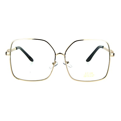 Womens Gold Oversize Butterfly Rectangular Clear Lens Metal Rim Ironic Granny Eye Glasses