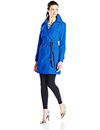 Women's Double-Breasted Trench Coat with Striped Belt