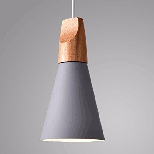 HQLCX Chandelier Bedroom restaurant coffee shop personality simple single head solid wood art pendant lamp,gray