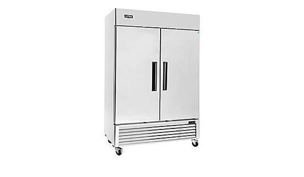 KITMA - Congelador vertical de 2 puertas (acero inoxidable, lado a ...