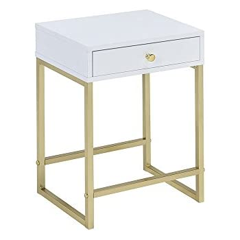 ACME Furniture Acme 82298 Coleen Side Table, White U0026 Brass