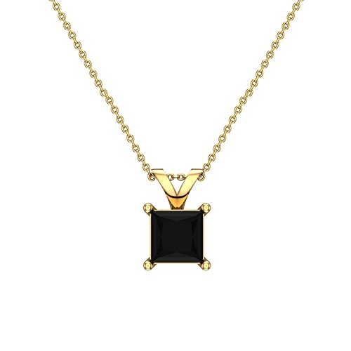1/2 ct tw Natural Black Natural Princess cut Diamond Solitaire Pendant Necklace 14K Yellow Gold - Princess 14k Natural Diamond Solitaire