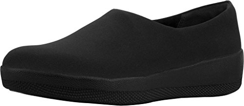 FitFlop Womens Superstretch Bobby Slip On Loafer Shoes, All Black, US 9