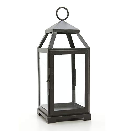 Hosley 14'' High Large Clear Glass & Iron, Classic Style Lantern. Ideal Gift for Festivities, Parties, Weddings, Aromatherapy and LED Spa Settings. 05 by Hosley