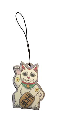 Lucky Cat Maneki-Neko Chinese Good Luck Engraved Printed Wooden Rear View Mirror Car Charm Dangler -