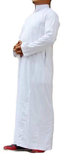 GRMO-Men Arabic Long Sleeve Saudi Office Muslim Thobe Dress Shirts White US M