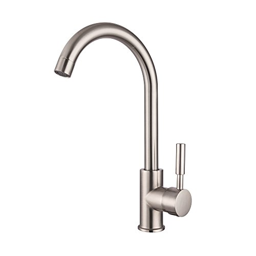 - Lordear Bar Sink 360 Degree Best Commercial Brushed Nickel Stainless Steel Single Handle Kitchen Sink Faucet,Hot and Cold Single Lever Kitchen Faucets
