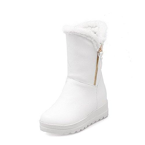 VogueZone009 Damen Rein Mittler Absatz Ziehen auf Rund Zehe Stiefel, Weiß, 37