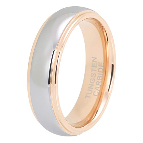 iTungsten 6mm Mens Tungsten Rings Womens Rose Gold Wedding Bands Domed Stepped Edges Polished Shiny Comfort Fit