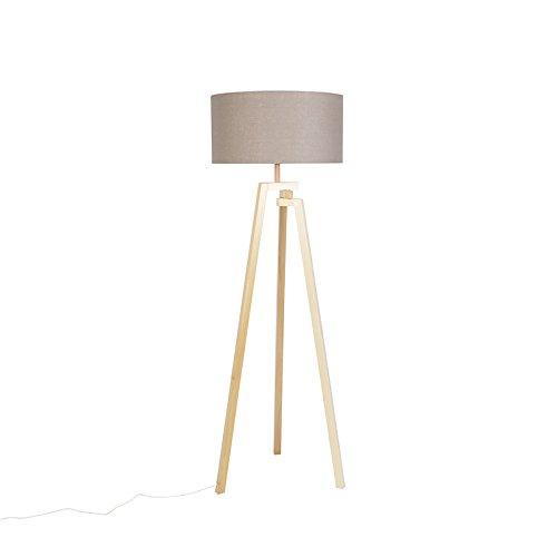 QAZQA Design Designer Stehleuchte Stehlampe Standleuchte Lampe Leuchte Dreifuß natur Holz mit grauem Schirm - Cortina Innenbeleuchtung Wohnzimmerlampe Schlafzimmer Textil Andere LED ge