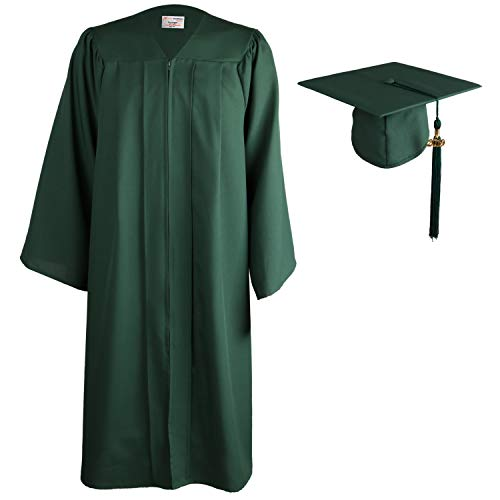 OSBO GradSeason Matte Graduation Gown Cap Tassel Set for High School and Bachelor (Forest, 57