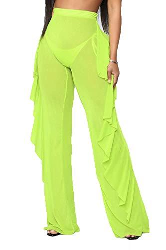 Willow Dance Women's Perspective Sheer Mesh Ruffle Pants Swimsuit Bikini Bottom Cover up (Green, XXL)