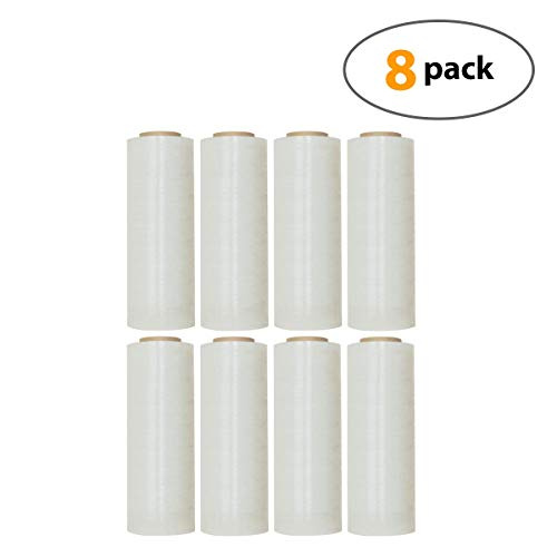 18 X 1500 Feet Industrial Strength Pallet Clear Shrink Wrap 8.25 Lb Per Roll Thick 80 Gauge(20 Micron) Heavy Duty Self-Adhesive Durable Cling Stretch Film Wrap Packing Moving Box Furniture (8 Roll)