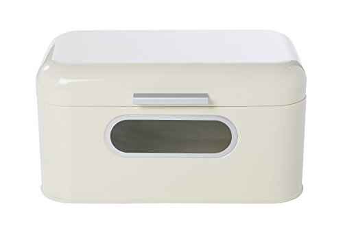 Bread Box for Kitchen Countertop - Bread Bin Storage Container with Lid for Loaves, Pastries, and More 12 x 7.25 x 6.25 Inches, Ivory