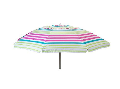 Heininger 1374 DestinationGear Pink Stripe 7 feet Beach Umbrella with Tilt and Travel Bag
